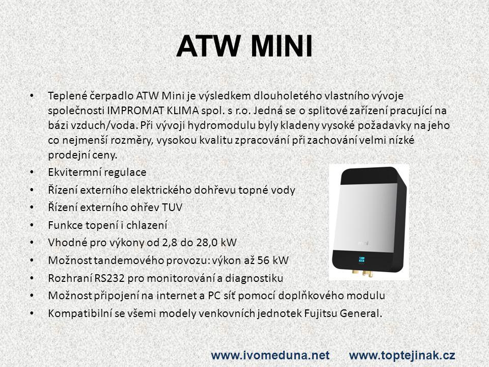 ATW MINI Teplené čerpadlo ATW Mini je výsledkem dlouholetého vlastního vývoje společnosti IMPROMAT KLIMA spol. s r.o. Jedná se o splitové zařízení pra