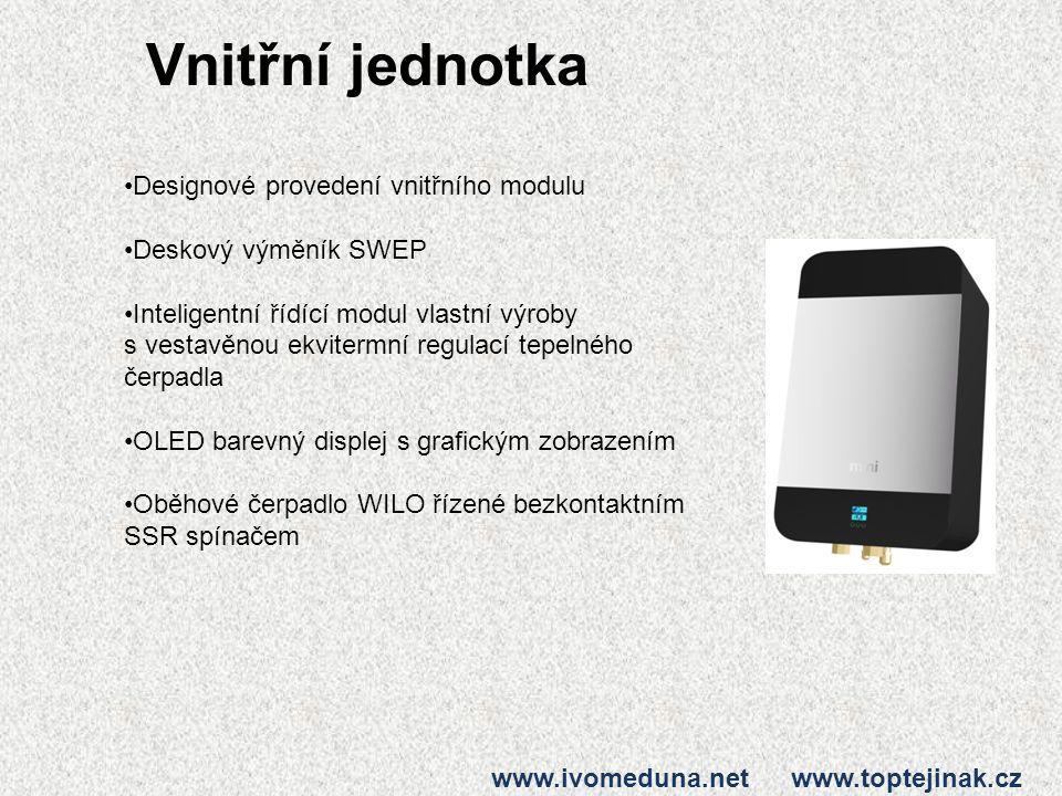 Vnitřní jednotka www.ivomeduna.net www.toptejinak.cz Designové provedení vnitřního modulu Deskový výměník SWEP Inteligentní řídící modul vlastní výrob