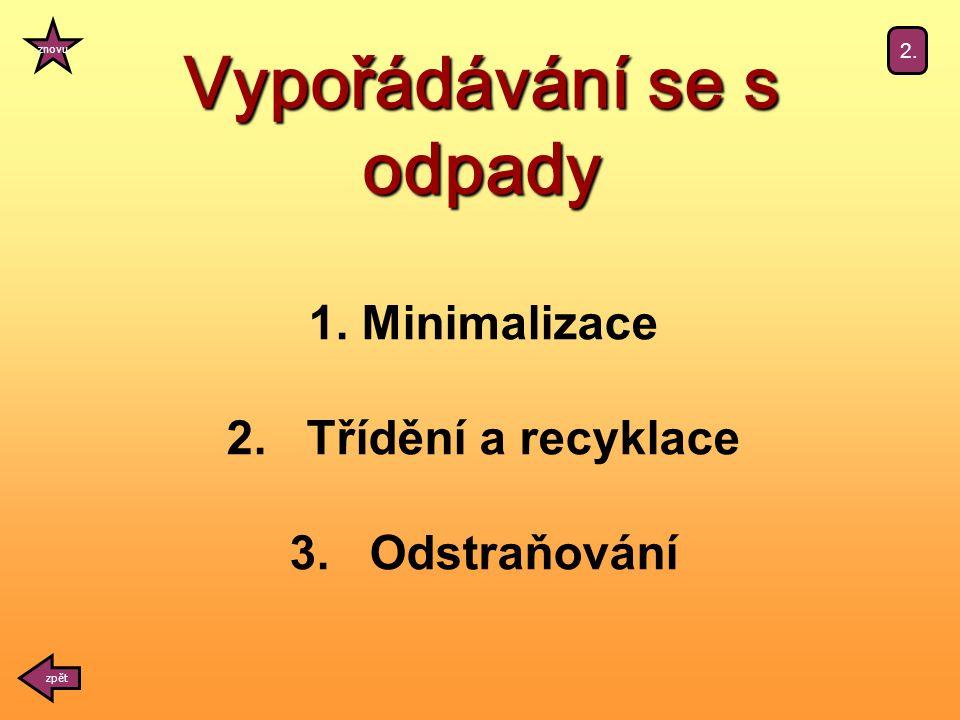 1. Minimalizace 2. Třídění a recyklace 3. Odstraňování Vypořádávání se s odpady zpět znovu 2.