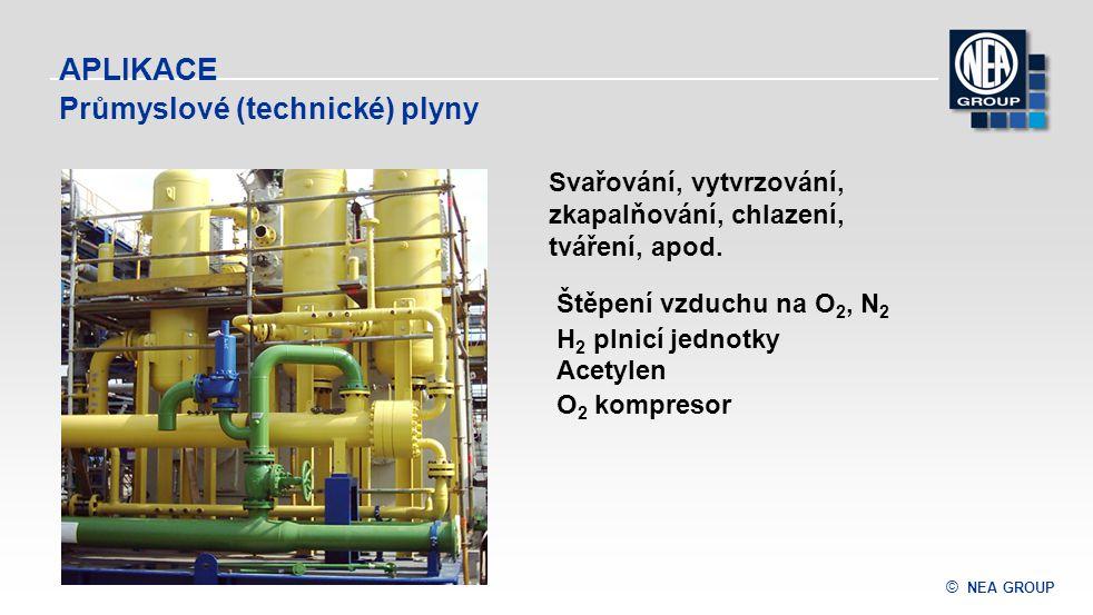 © NEA GROUP APLIKACE Štěpení vzduchu na O 2, N 2 H 2 plnicí jednotky Acetylen O 2 kompresor Svařování, vytvrzování, zkapalňování, chlazení, tváření, a