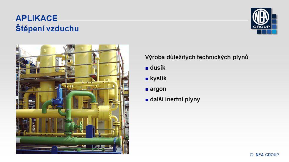 © NEA GROUP APLIKACE Štěpení vzduchu Výroba důležitých technických plynů ■ dusík ■ kyslík ■ argon ■ další inertní plyny