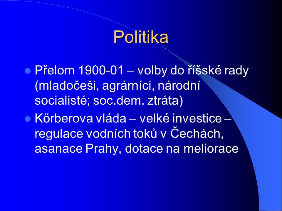 Politika Přelom 1900-01 – volby do říšské rady (mladočeši, agrárníci, národní socialisté; soc.dem.