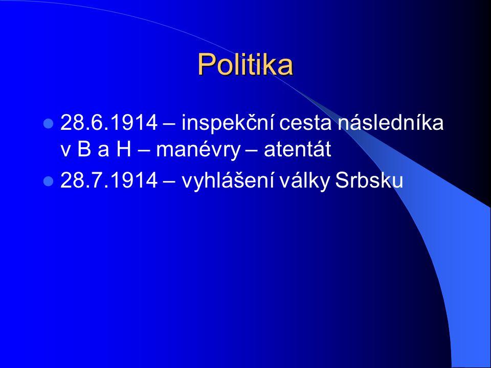 Politika 28.6.1914 – inspekční cesta následníka v B a H – manévry – atentát 28.7.1914 – vyhlášení války Srbsku