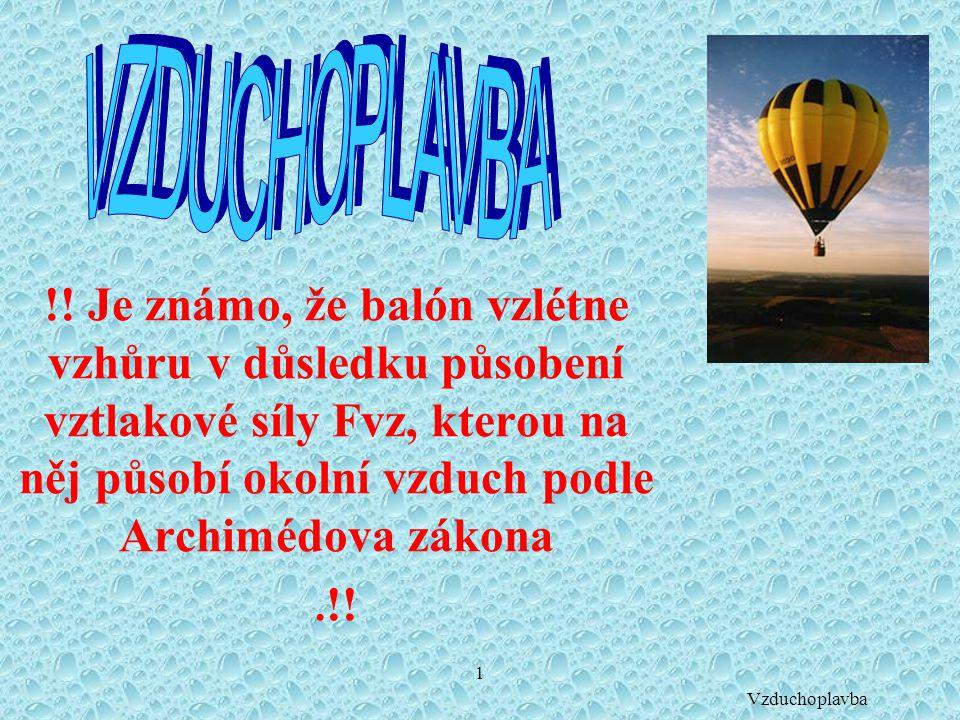 1 !! Je známo, že balón vzlétne vzhůru v důsledku působení vztlakové síly Fvz, kterou na něj působí okolní vzduch podle Archimédova zákona. !! Vzducho