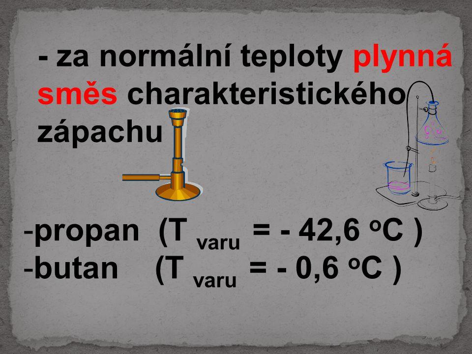 -propan (T varu = - 42,6 o C ) -butan (T varu = - 0,6 o C ) - za normální teploty plynná směs charakteristického zápachu