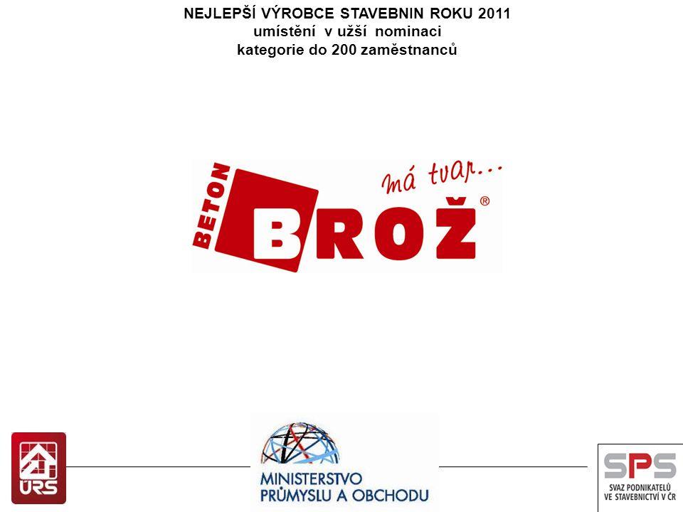NEJLEPŠÍ VÝROBCE STAVEBNIN ROKU 2012 Vítězové soutěže převezmou ceny v Senátu 10.10.2013