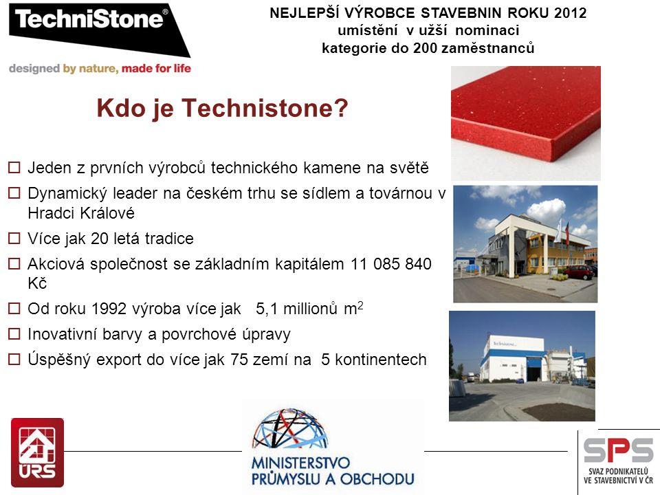 Kdo je Technistone?  Jeden z prvních výrobců technického kamene na světě  Dynamický leader na českém trhu se sídlem a továrnou v Hradci Králové  Ví