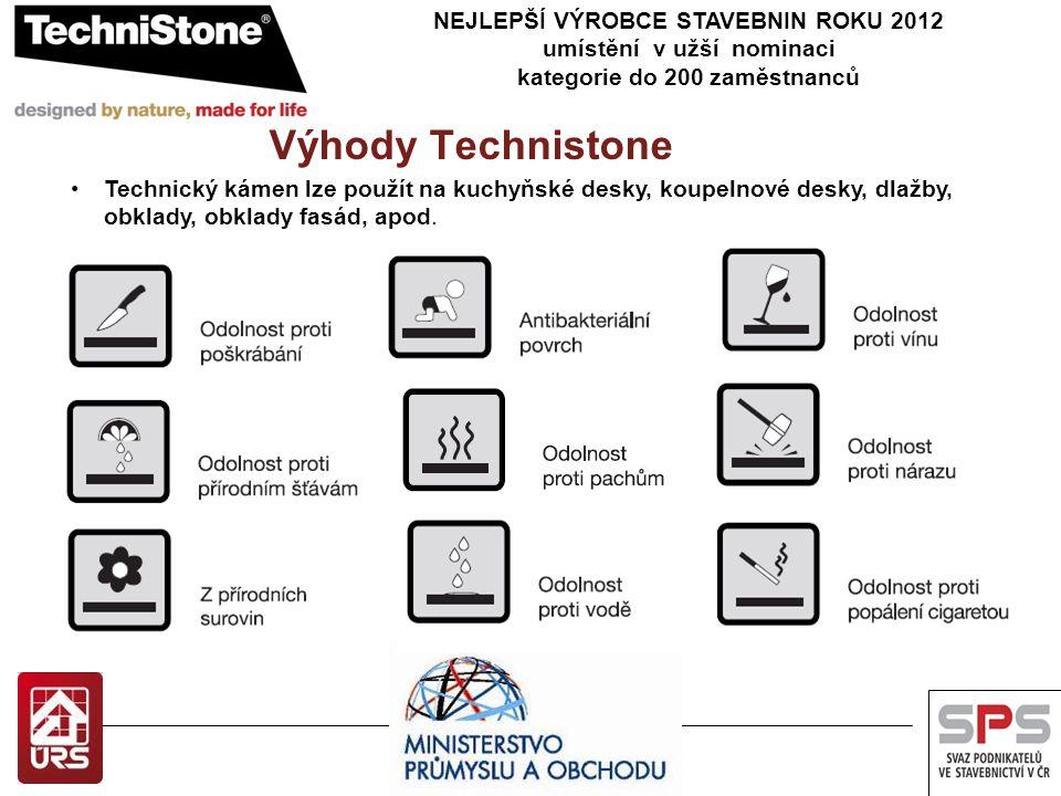 NEJLEPŠÍ VÝROBCE STAVEBNIN ROKU 2012 umístění v užší nominaci kategorie do 200 zaměstnanců Výhody Technistone Technický kámen lze použít na kuchyňské