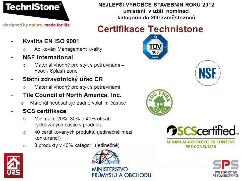 NEJLEPŠÍ VÝROBCE STAVEBNIN ROKU 2012 umístění v užší nominaci kategorie do 200 zaměstnanců Certifikace Technistone − Kvalita EN ISO 9001 o Aplikován Management kvality − NSF International o Materiál vhodný pro styk s potravinami – Food / Splash zone − Státní zdravotnický úřad ČR o Materiál vhodný pro styk s potravinami − Tile Council of North America, Inc.