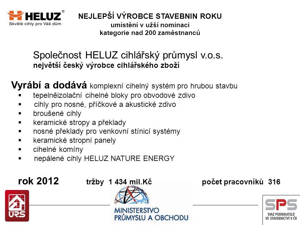 NEJLEPŠÍ VÝROBCE STAVEBNIN ROKU umístění v užší nominaci kategorie nad 200 zaměstnanců Společnost HELUZ cihlářský průmysl v.o.s. největší český výrobc