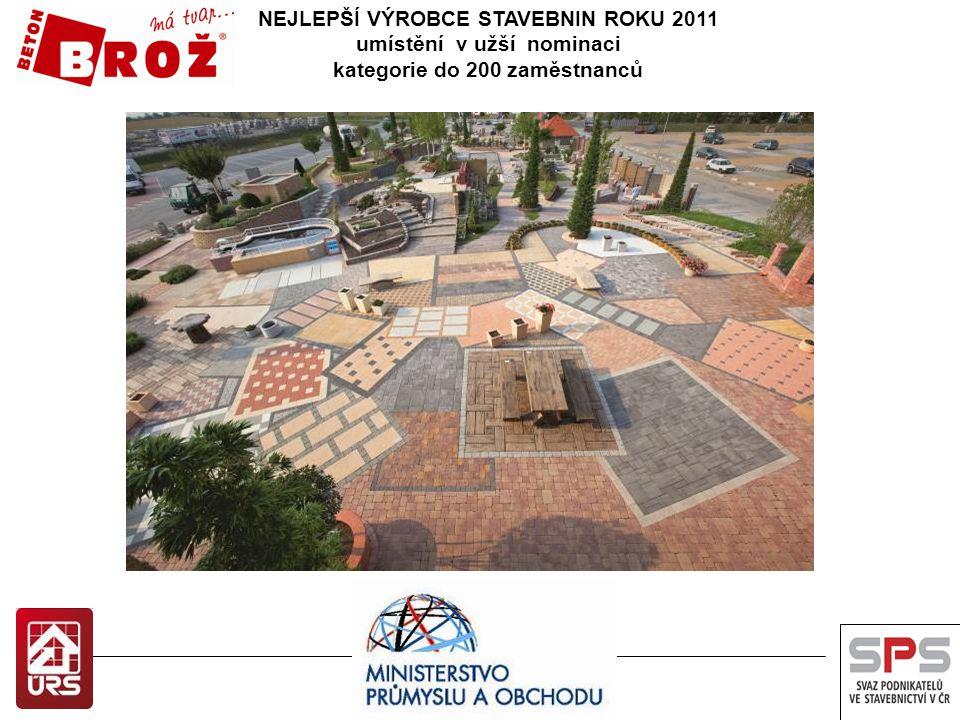 NEJLEPŠÍ VÝROBCE STAVEBNIN ROKU 2012 umístění v užší nominaci kategorie do 200 zaměstnanců