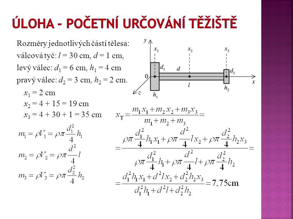 Rozměry jednotlivých částí tělesa: válcová tyč: l = 30 cm, d = 1 cm, levý válec: d 1 = 6 cm, h 1 = 4 cm pravý válec: d 2 = 3 cm, h 2 = 2 cm. x 1 = 2 c