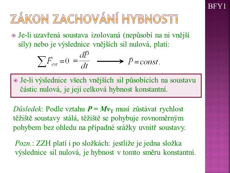  Je-li uzavřená soustava izolovaná (nepůsobí na ni vnější síly) nebo je výslednice vnějších sil nulová, platí:  Je-li výslednice všech vnějších sil působících na soustavu částic nulová, je její celková hybnost konstantní.