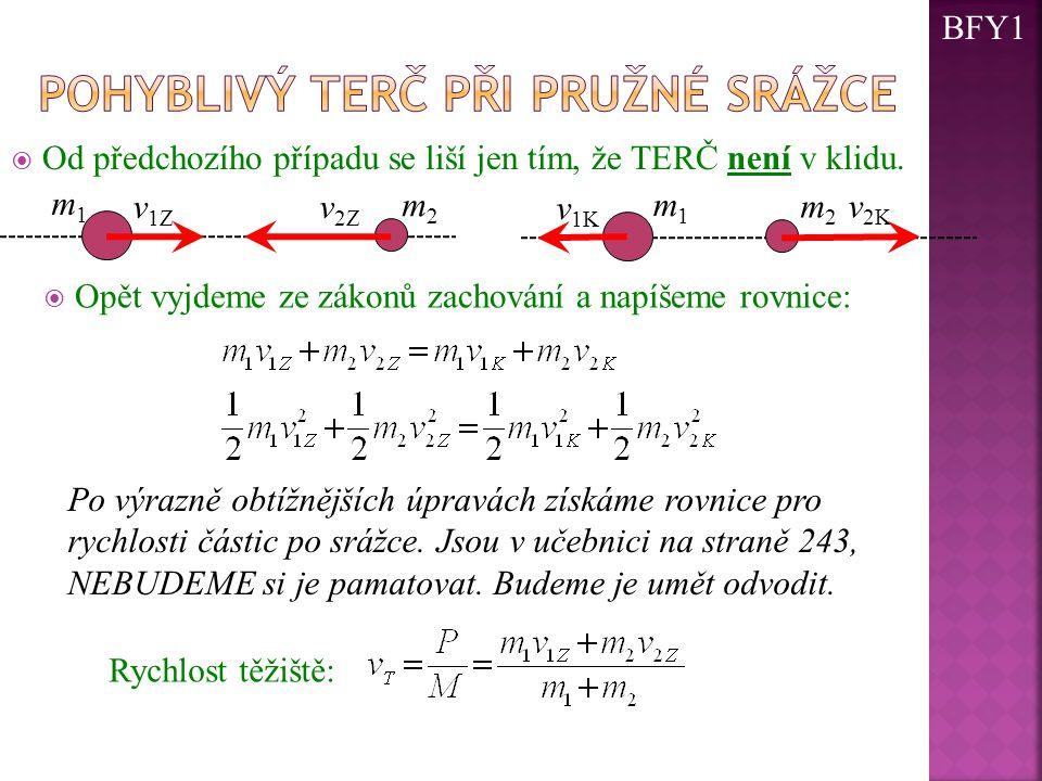  Od předchozího případu se liší jen tím, že TERČ není v klidu. m2m2 m1m1 v 1Z m 2 v 2K m1m1 v 1K  Opět vyjdeme ze zákonů zachování a napíšeme rovnic
