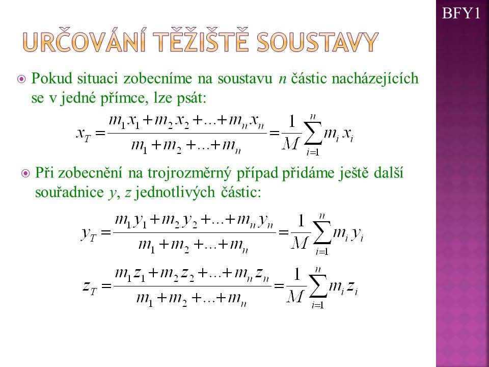  Pokud situaci zobecníme na soustavu n částic nacházejících se v jedné přímce, lze psát:  Při zobecnění na trojrozměrný případ přidáme ještě další souřadnice y, z jednotlivých částic: BFY1