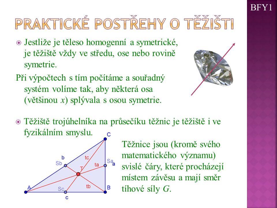  Jestliže je těleso homogenní a symetrické, je těžiště vždy ve středu, ose nebo rovině symetrie. Při výpočtech s tím počítáme a souřadný systém volím