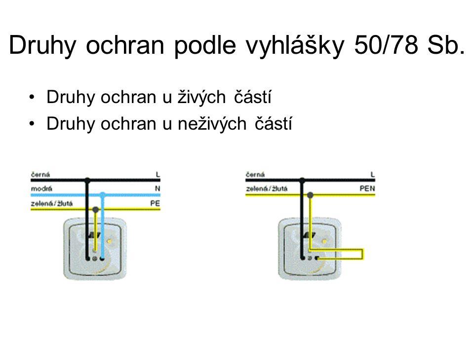 Druhy ochran podle vyhlášky 50/78 Sb. Druhy ochran u živých částí Druhy ochran u neživých částí