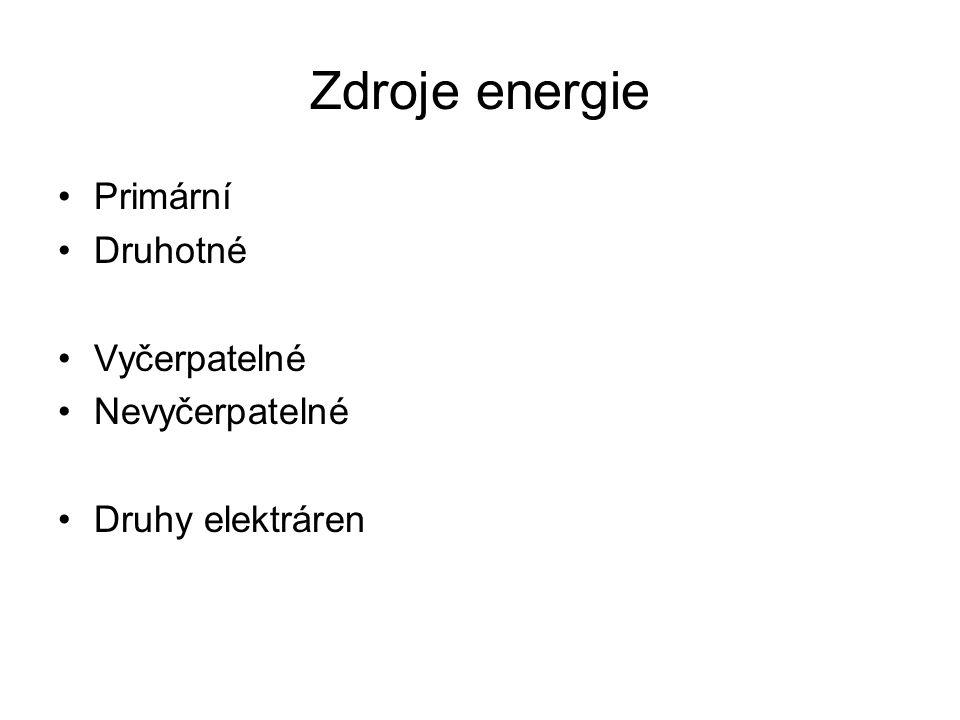 Primární Druhotné Vyčerpatelné Nevyčerpatelné Druhy elektráren Zdroje energie