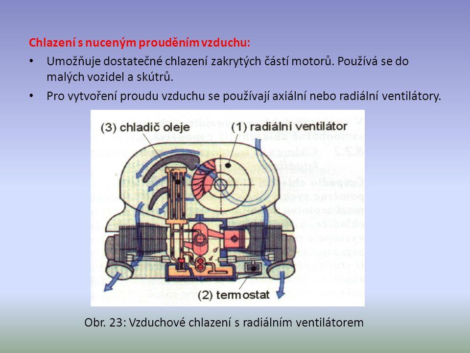 Chlazení s nuceným prouděním vzduchu: Umožňuje dostatečné chlazení zakrytých částí motorů. Používá se do malých vozidel a skútrů. Pro vytvoření proudu