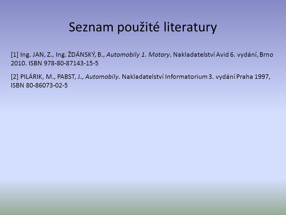 Seznam použité literatury [1] Ing. JAN, Z., Ing. ŽDÁNSKÝ, B., Automobily 1. Motory. Nakladatelství Avid 6. vydání, Brno 2010. ISBN 978-80-87143-15-5 [