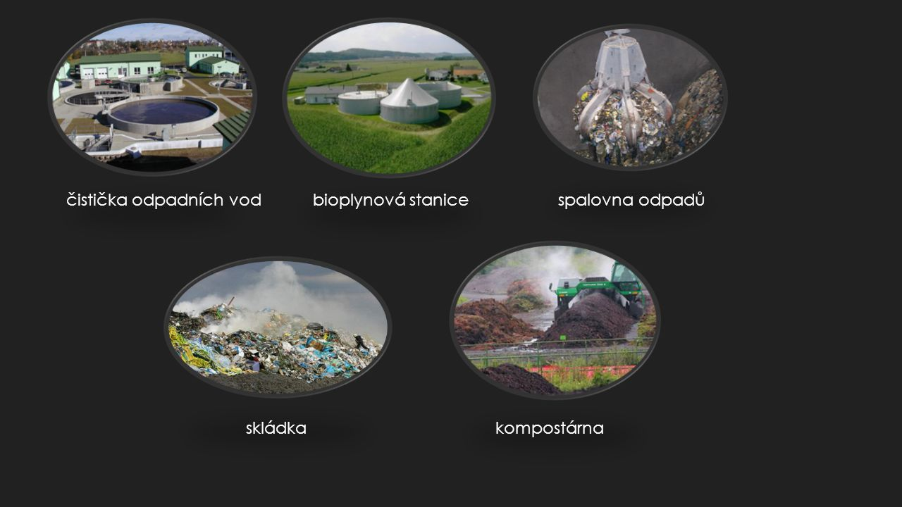 čistička odpadních vod bioplynová stanice spalovna odpadů skládka kompostárna