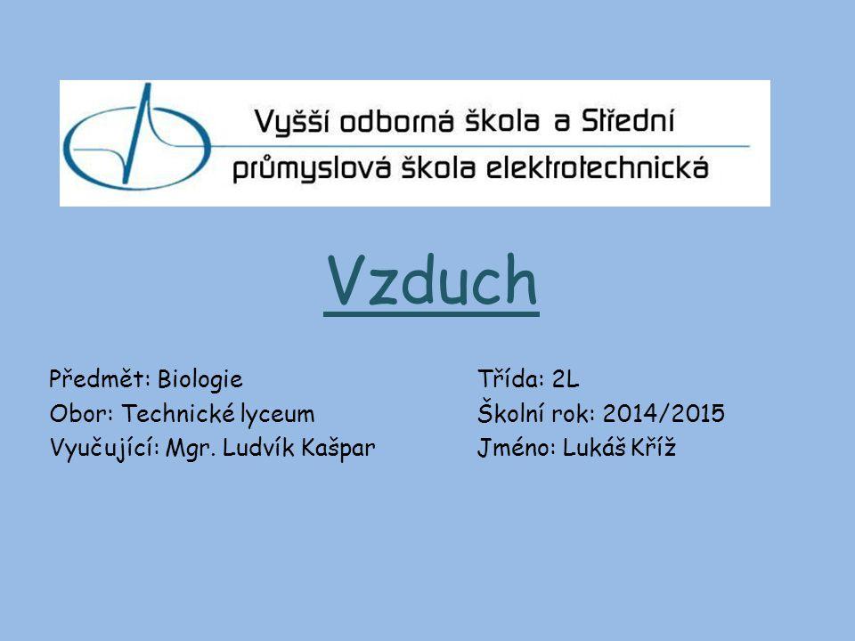 Vzduch Předmět: BiologieTřída: 2L Obor: Technické lyceumŠkolní rok: 2014/2015 Vyučující: Mgr.