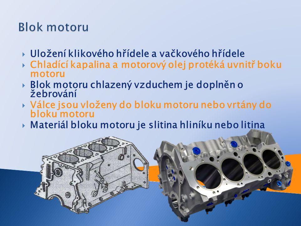  Uložení klikového hřídele a vačkového hřídele  Chladící kapalina a motorový olej protéká uvnitř boku motoru  Blok motoru chlazený vzduchem je dopl