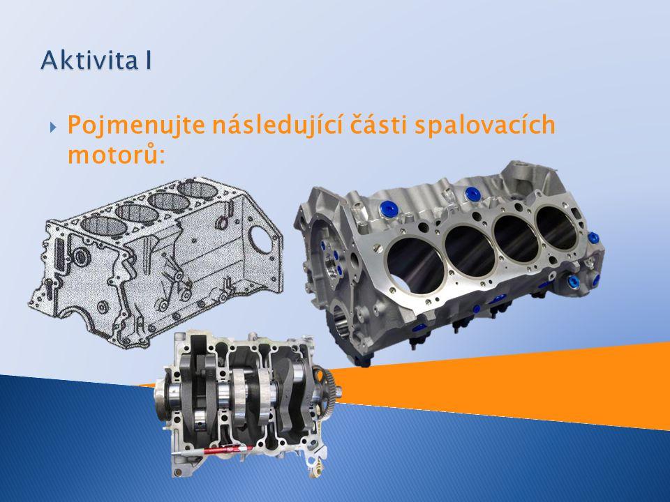  Pojmenujte následující části spalovacích motorů: