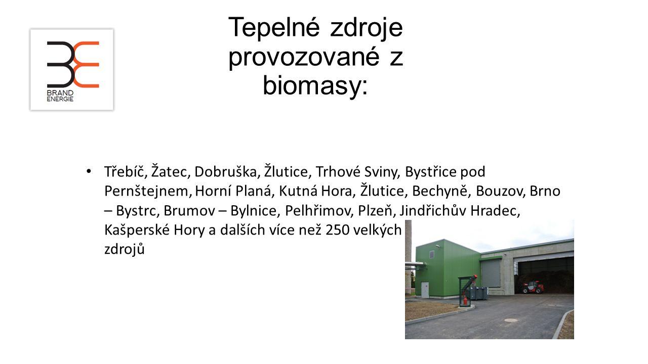 Tepelné zdroje provozované z biomasy: Třebíč, Žatec, Dobruška, Žlutice, Trhové Sviny, Bystřice pod Pernštejnem, Horní Planá, Kutná Hora, Žlutice, Bech