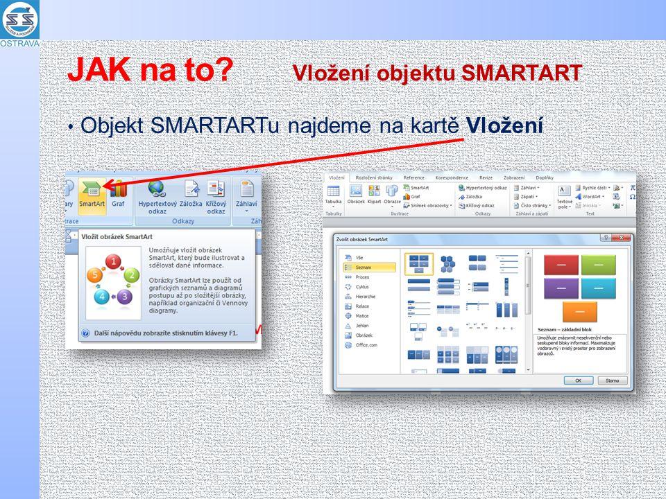 Objekt SMARTARTu najdeme na kartě Vložení Vložení objektu SMARTART JAK na to