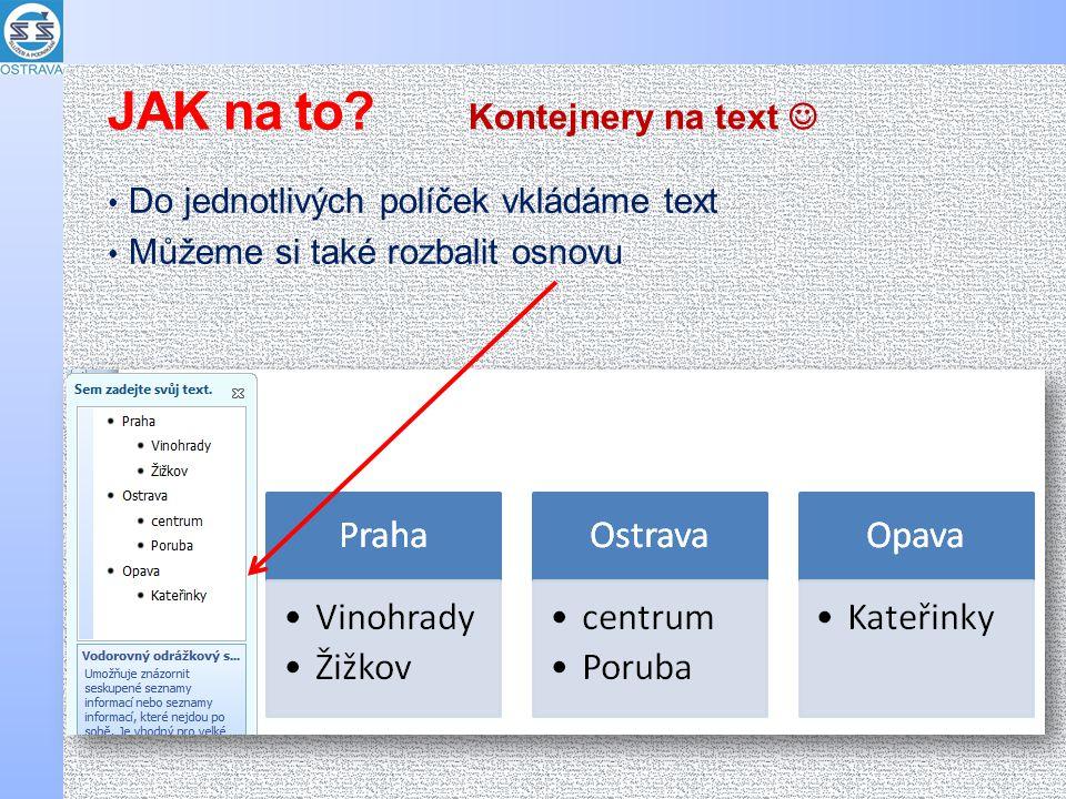 Do jednotlivých políček vkládáme text Můžeme si také rozbalit osnovu Kontejnery na text JAK na to