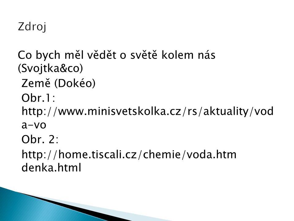 Co bych měl vědět o světě kolem nás (Svojtka&co) Země (Dokéo) Obr.1: http://www.minisvetskolka.cz/rs/aktuality/vod a-vo Obr. 2: http://home.tiscali.cz