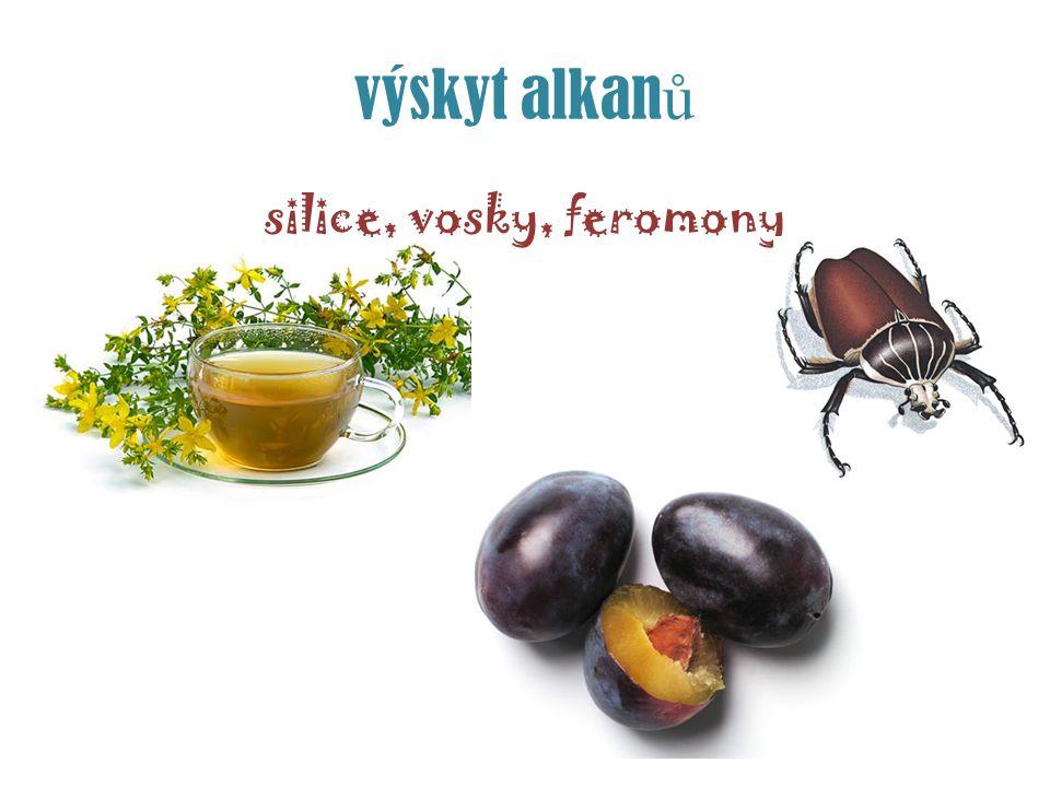 výskyt alkan ů silice, vosky, feromony