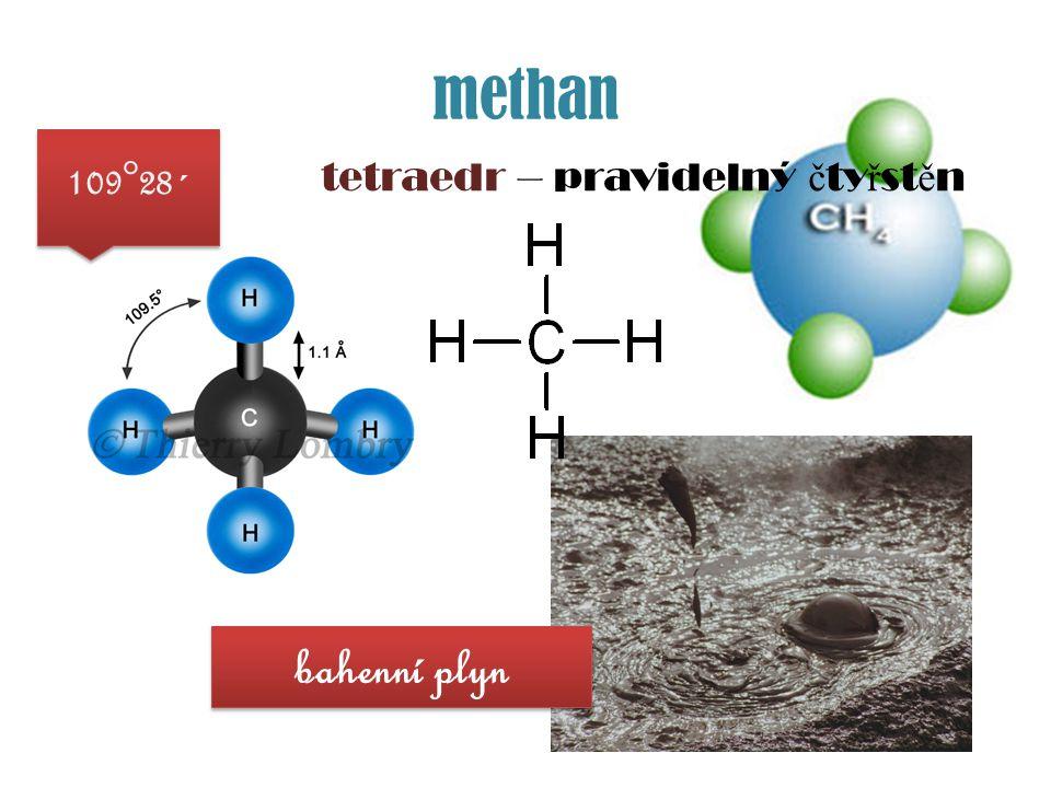 methan tetraedr – pravidelný č ty ř st ě n 109°28´ bahenní plyn