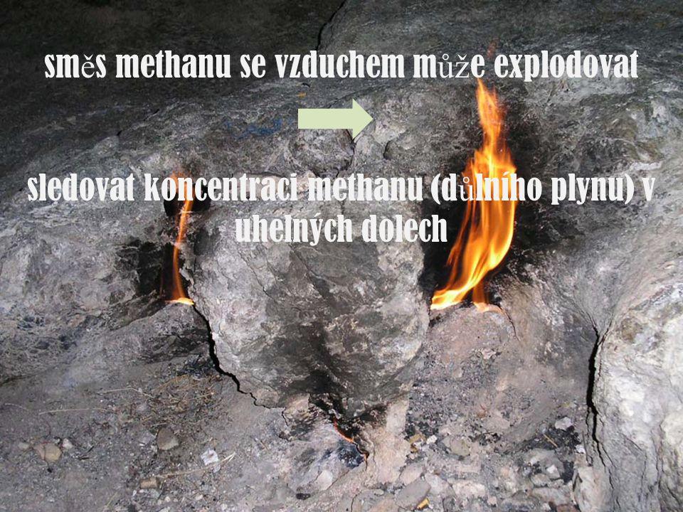 sm ě s methanu se vzduchem m ůž e explodovat sledovat koncentraci methanu (d ů lního plynu) v uhelných dolech