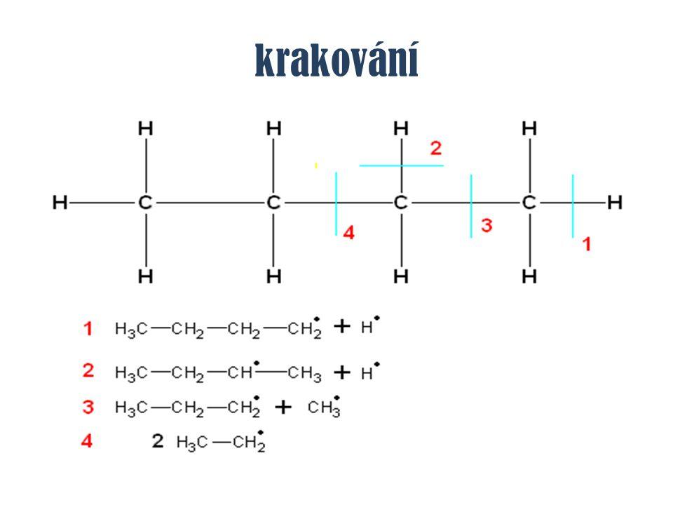 methan – chemické vlastnosti chlorace methanu – S R CH 4 + Cl 2 → CH 3 Cl + HCl CH 3 Cl + Cl 2 → CH 2 Cl 2 + HCl CH 2 Cl 2 + Cl 2 → CHCl 3 + HCl CHCl 3 + Cl 2 → CCl 4 + HCl chlorace methanu – S R CH 4 + Cl 2 → CH 3 Cl + HCl CH 3 Cl + Cl 2 → CH 2 Cl 2 + HCl CH 2 Cl 2 + Cl 2 → CHCl 3 + HCl CHCl 3 + Cl 2 → CCl 4 + HCl chlormethan dichlormethan trichlormethan tetrachlormethan