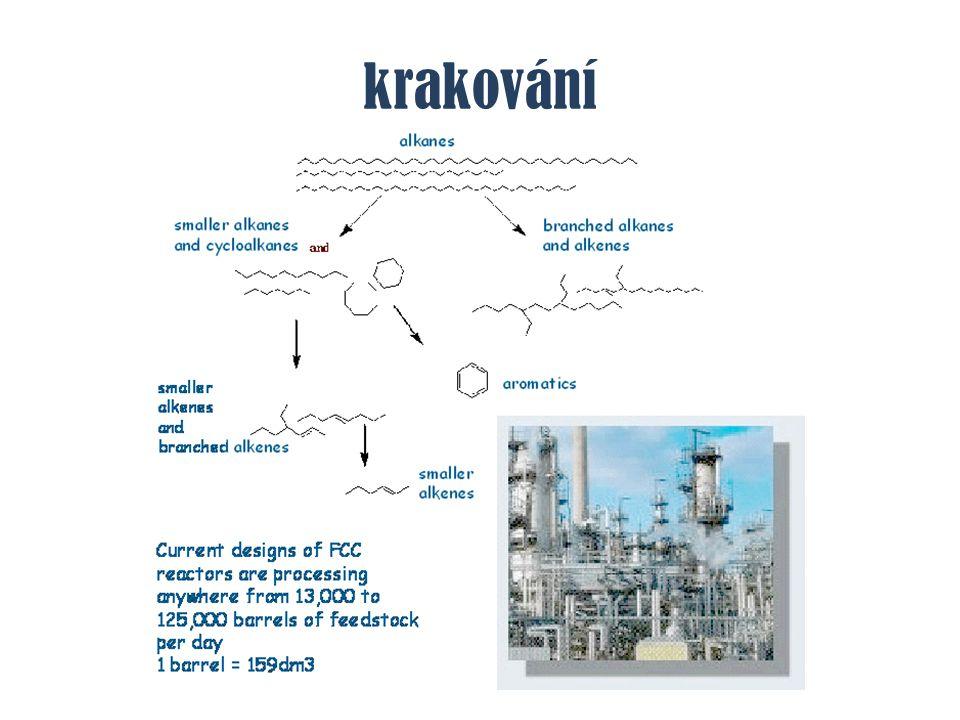 reformování zlepšení antidetonačních vlastností benzínu - oktanové č íslo katalyzátorem Mo 2 O 3 + Al 2 O 3 nebo Pt nanesená na Al 2 O 3 2-4MPa, 500°C