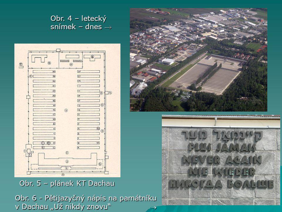 """Obr. 5 – plánek KT Dachau Obr. 4 – letecký snímek – dnes  Obr. 6 - Pětijazyčný nápis na památníku v Dachau""""Už nikdy znovu""""  Obr. 6 - Pětijazyčný náp"""