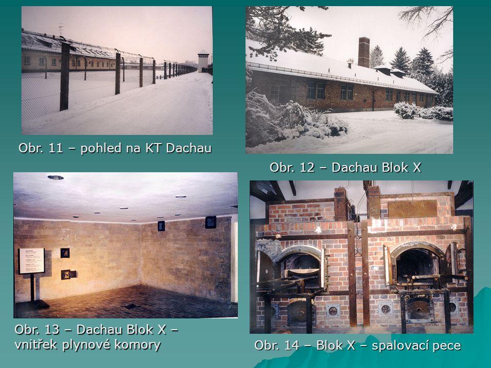 Obr. 11 – pohled na KT Dachau Obr. 12 – Dachau Blok X Obr. 13 – Dachau Blok X – vnitřek plynové komory Obr. 14 – Blok X – spalovací pece