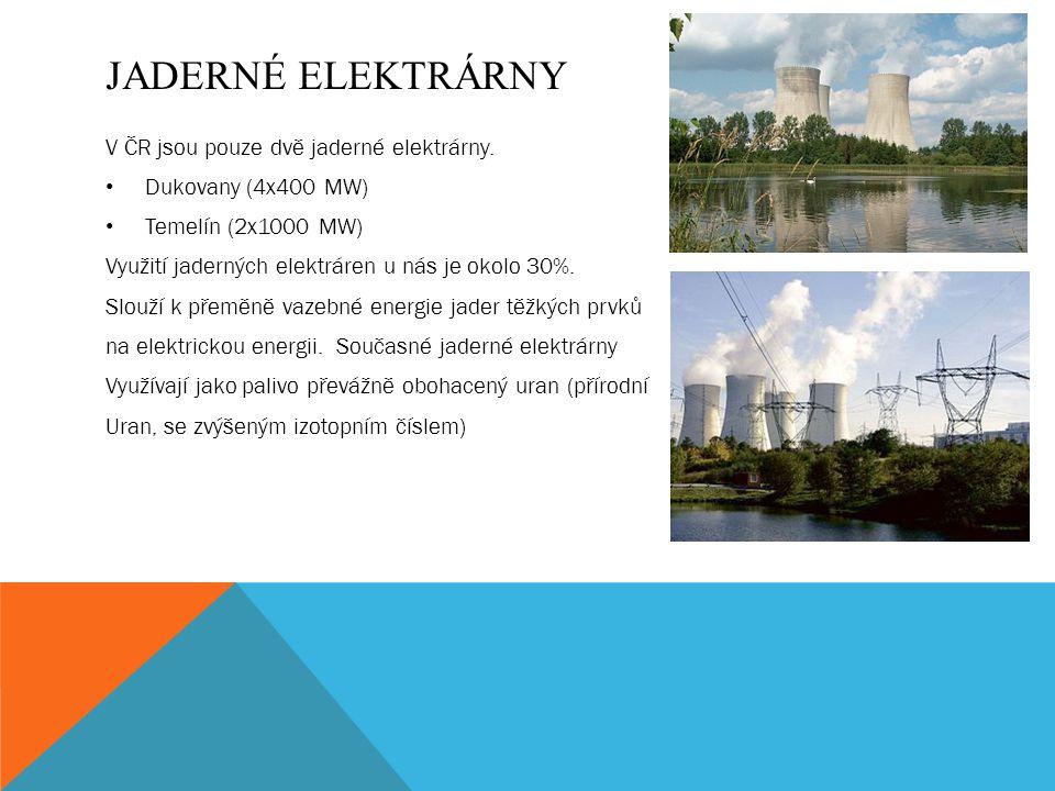 JADERNÉ ELEKTRÁRNY V ČR jsou pouze dvě jaderné elektrárny.
