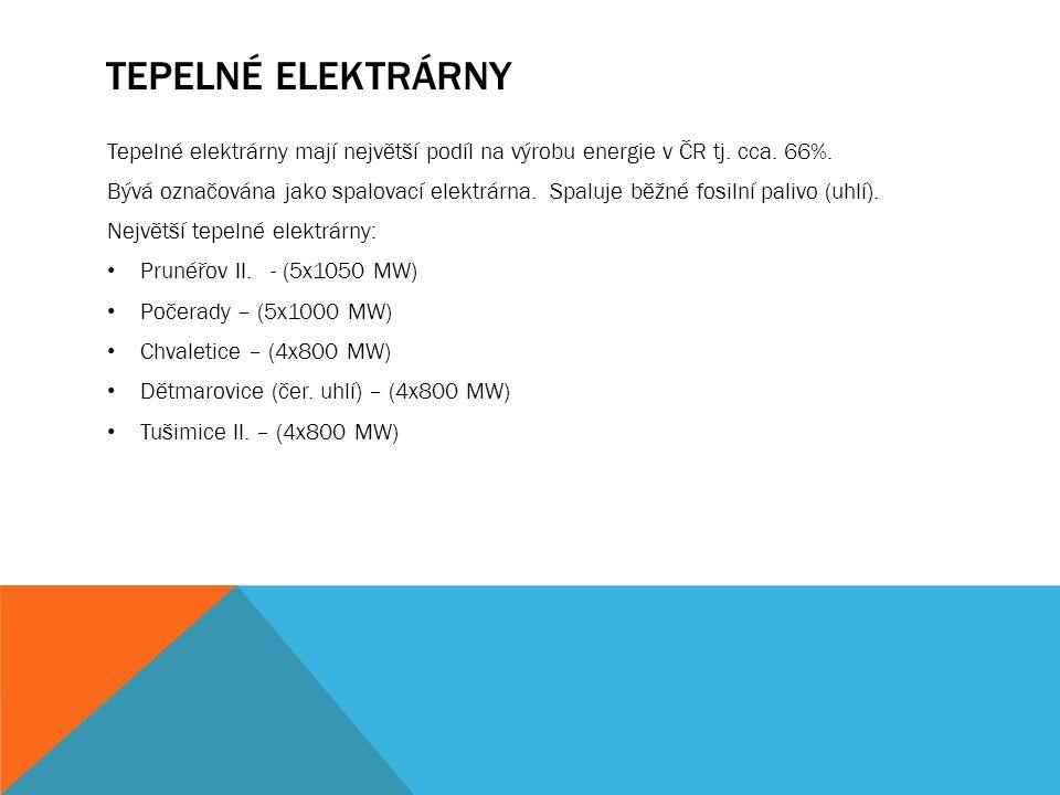 TEPELNÉ ELEKTRÁRNY Tepelné elektrárny mají největší podíl na výrobu energie v ČR tj.