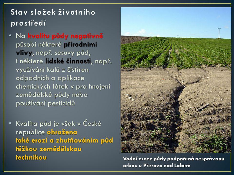 Na kvalitu půdy negativně působí některé přírodními vlivy, např.