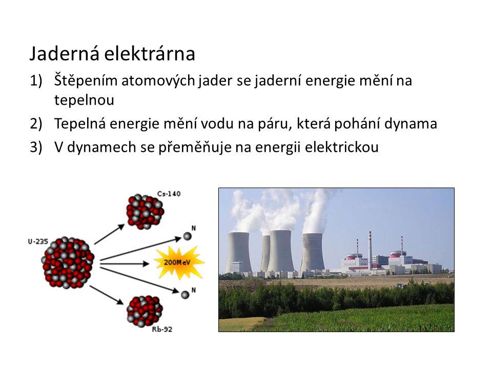 Jaderná elektrárna 1)Štěpením atomových jader se jaderní energie mění na tepelnou 2)Tepelná energie mění vodu na páru, která pohání dynama 3)V dynamec