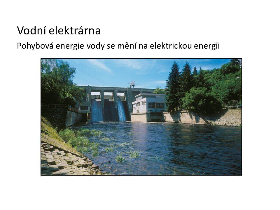 Vodní elektrárna Pohybová energie vody se mění na elektrickou energii