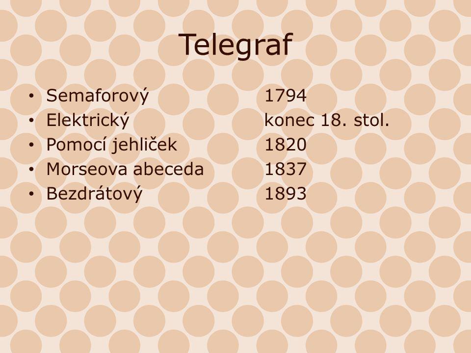 Telegraf Semaforový1794 Elektrickýkonec 18. stol. Pomocí jehliček1820 Morseova abeceda1837 Bezdrátový1893