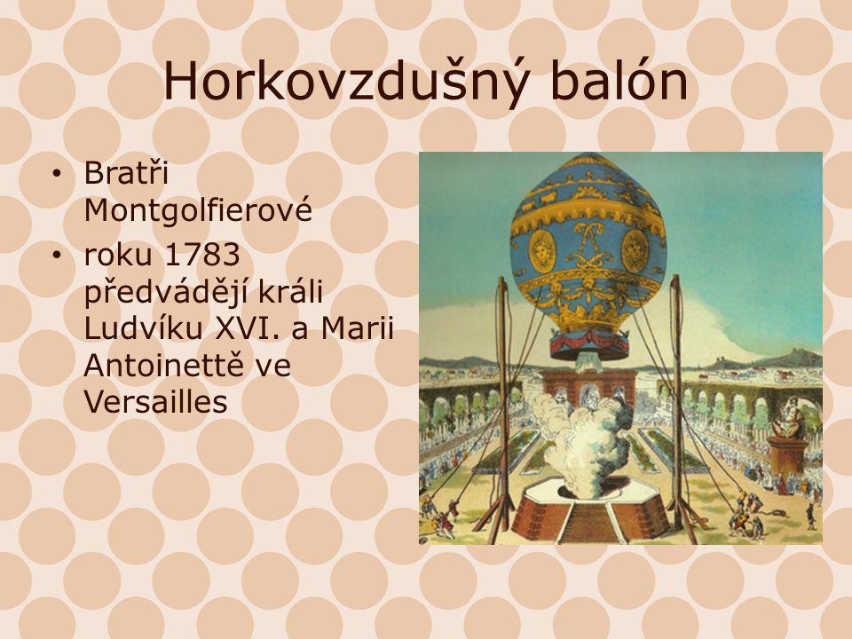 Horkovzdušný balón Bratři Montgolfierové roku 1783 předvádějí králi Ludvíku XVI. a Marii Antoinettě ve Versailles