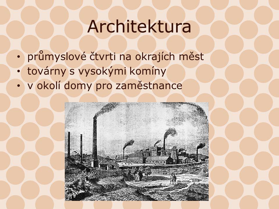 Architektura průmyslové čtvrti na okrajích měst továrny s vysokými komíny v okolí domy pro zaměstnance