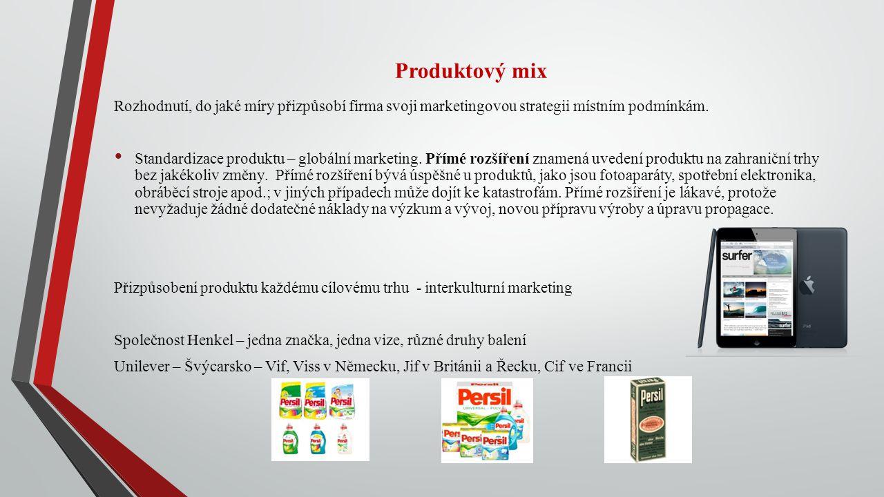 Produktový mix Rozhodnutí, do jaké míry přizpůsobí firma svoji marketingovou strategii místním podmínkám. Standardizace produktu – globální marketing.