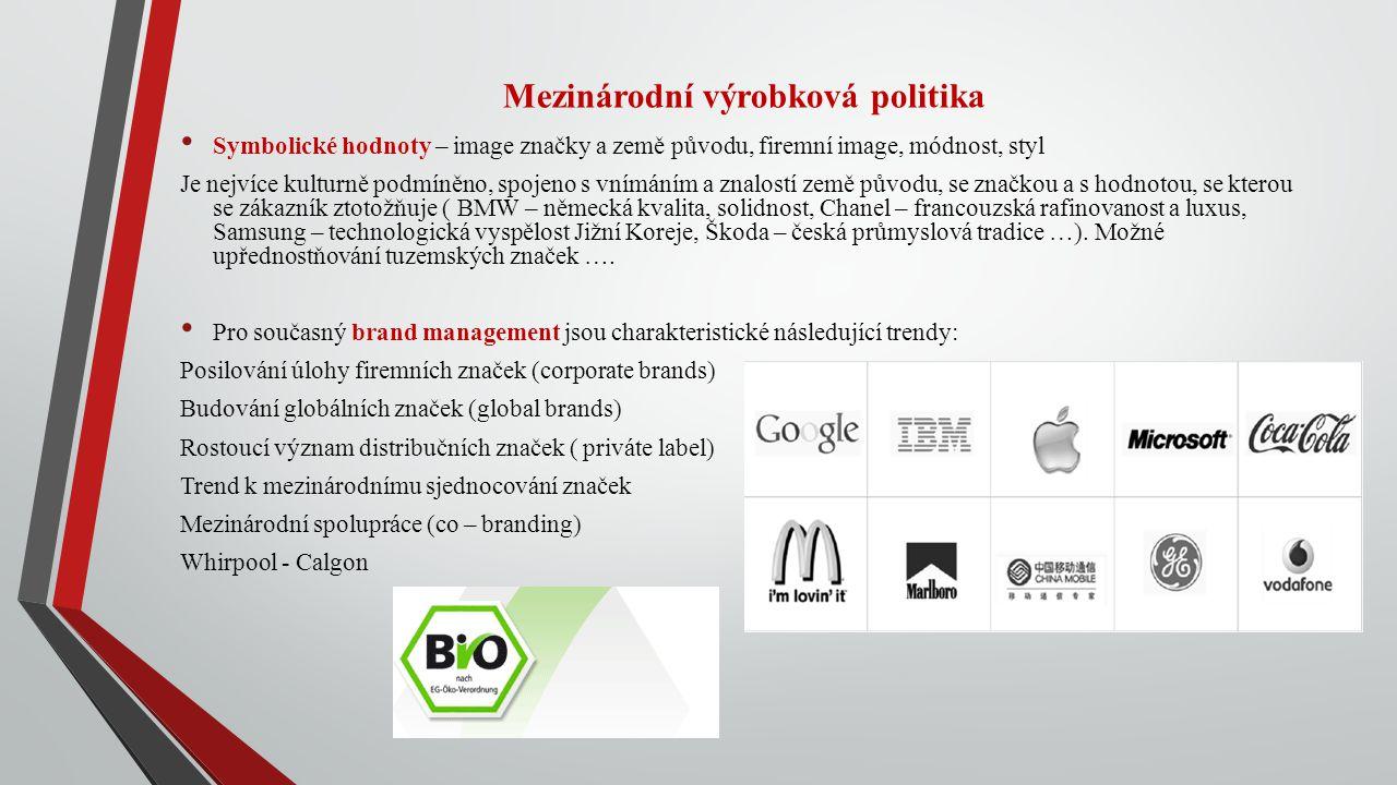 Mezinárodní výrobková politika Symbolické hodnoty – image značky a země původu, firemní image, módnost, styl Je nejvíce kulturně podmíněno, spojeno s