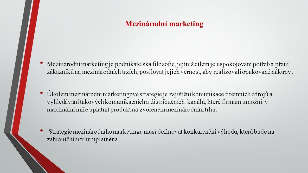 Mezinárodní marketing Mezinárodní marketing je podnikatelská filozofie, jejímž cílem je uspokojování potřeb a přání zákazníků na mezinárodních trzích,